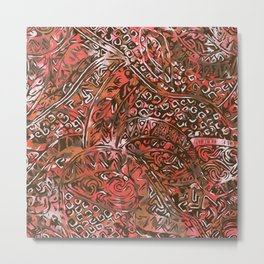 Hawaiian Red Ancient Pattern Metal Print