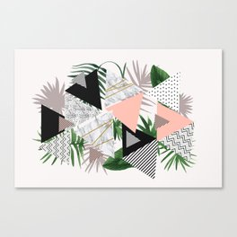 Abstract of geometric patterns with plants and marble Canvas Print