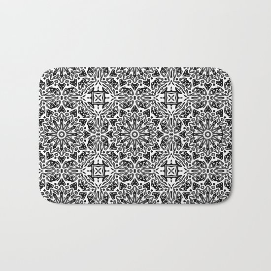 Oriental Pattern black and white Bath Mat
