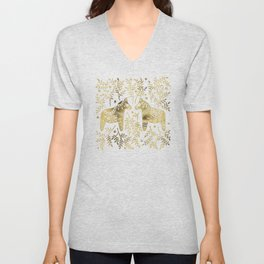 Swedish Dala Horses – Gold Palette Unisex V-Neck