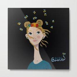 ~ Winnie the Honey Bee Girl ~ Art By Milly Moo 12 Year Old Artist Metal Print
