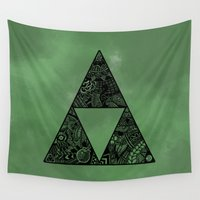 triforce Wall Tapestries featuring Triforce on Green by Riaora Creations