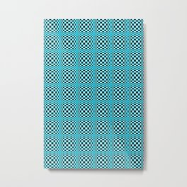 Chequered Blue Metal Print