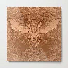 Sepia Ganesha Metal Print