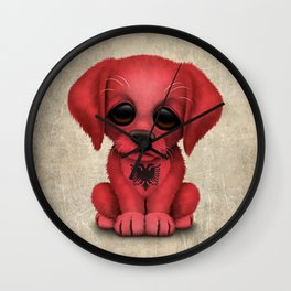 Cute Puppy Dog with flag of Albania Wall Clock