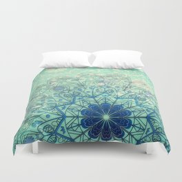 Mandala in Sea Green and Blue Duvet Cover