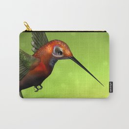 Colorful Hummingbird & Green Unfocused Background Carry-All Pouch