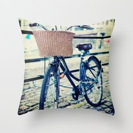 Locked bike in the city Throw Pillow