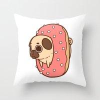 doughnut Throw Pillows featuring Puglie Doughnut by Puglie Pug