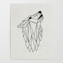 Geometric Howling Wild Wolf Poster
