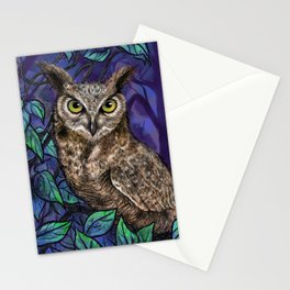 Owl at night in a forest of navy blue with bright green leaves Stationery Cards