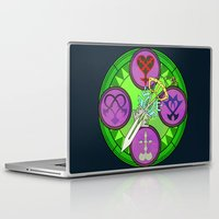 kingdom hearts Laptop & iPad Skins featuring Kingdom Hearts stained glass illustration  by Paul Giovinco