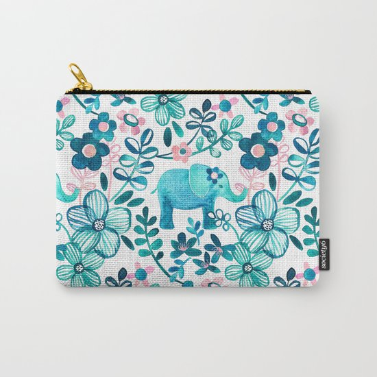 Dusty Pink, White and Teal Elephant and Floral Watercolor Pattern Carry-All Pouch