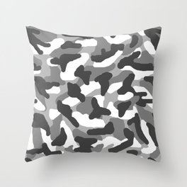 Grey Gray Camo Camouflage Throw Pillow