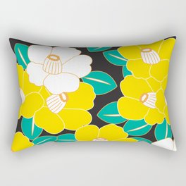 Shades of Tsubaki - Yellow & Black Rectangular Pillow