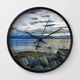 Dusk over South Bay, New Zealand Wall Clock