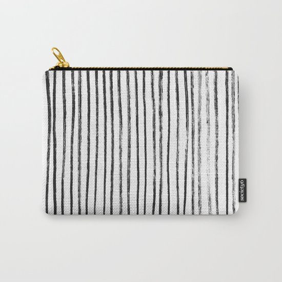 Black Dry Brush Line Pattern (Vertical) Carry-All Pouch
