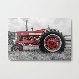 Vintage IH Farmall 450 Side View Selective Red Tractor Metal Print