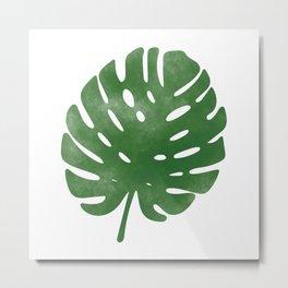 Watercolor palm leaf Metal Print