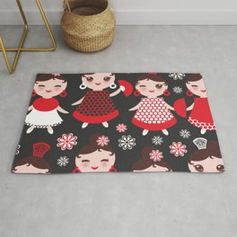Seamless pattern spanish Woman flamenco dancer. Kawaii cute face with pink cheeks and winking eyes. Rug