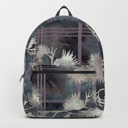 Thistle Flower Felted Plaid Pattern Backpack