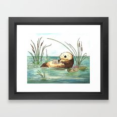 Otter on a Laptop Framed Art Print