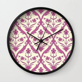 Rosa trellis ikat Wall Clock