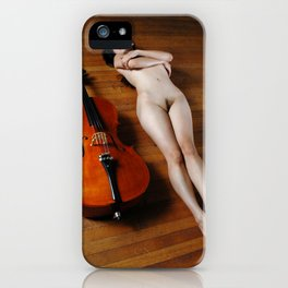 0137-JC Nude Cellist with Her Cello and Bow Naked Young Woman Musician Art Sexy Erotic Sweet Sensual iPhone Case
