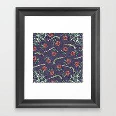 Elegant Guns Knives and Roses Framed Art Print