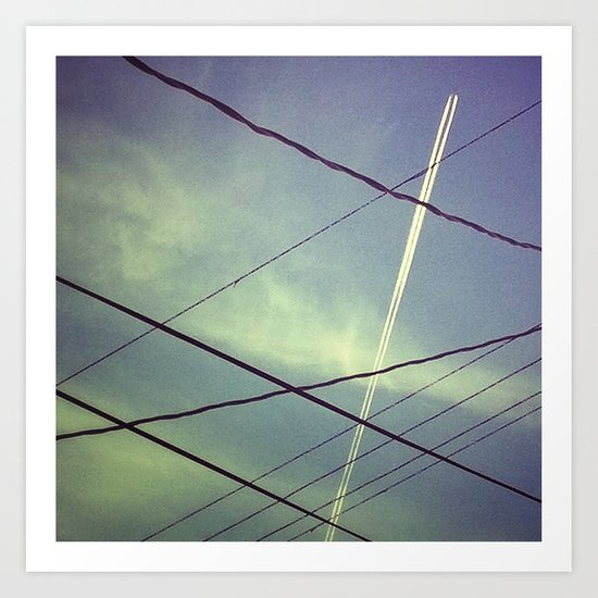 Contrail and Power Lines Art Print