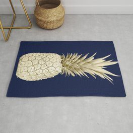 Pineapple Pineapple Gold on Navy Blue Rug