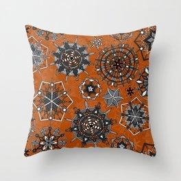 mandala snowflakes orange Throw Pillow