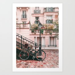 Bike in a Lovely Town Pink City Photography  Art Print