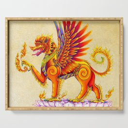 Singha Winged Lion Temple Guardian Serving Tray