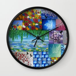 collage of art by Cathy Jacobs  Wall Clock