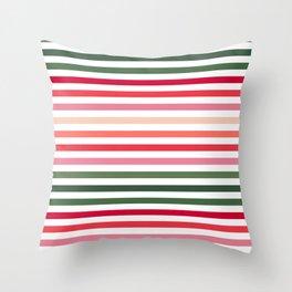Colourful Strips - Christmas Palette Throw Pillow