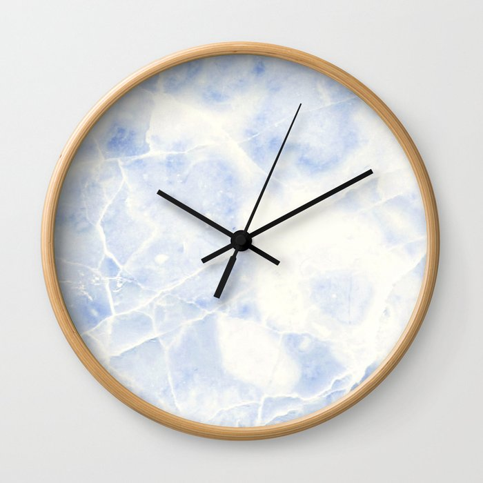 Blue and White Marble Waves Wall Clock