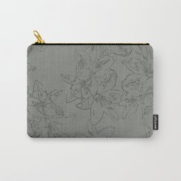green line art floral pattern Carry-All Pouch