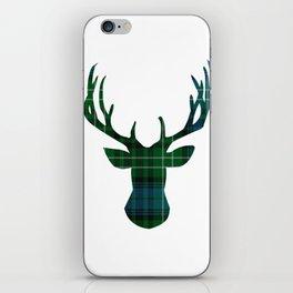 Blue Plaid Deer iPhone Skin