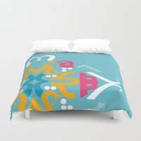 arabic Duvet Covers featuring Blue Arabic by Farah Saheb