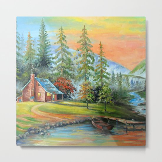 House at the mountain river Metal Print