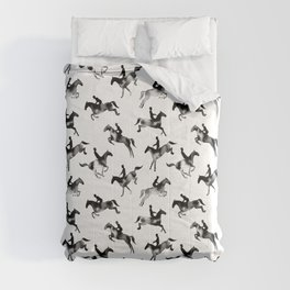 Watercolor Showjumping Horses (Black) Comforters