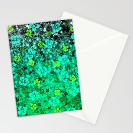 LUCK OF THE IRISH Colorful Emerald Green Ombre St Patricks Day Floral Shamrock Four Leaf Clover Art Stationery Cards