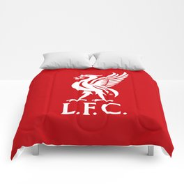 Liverpool FC White on Red 2017 Logo Comforters