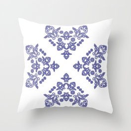 'Love 04' - Heart of lace in blue Throw Pillow