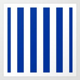 Dark Princess Blue and White Wide Vertical Cabana Tent Stripe Art Print