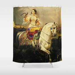 Classical Masterpiece An Algerian Lady Hawking by Horace Vernet Shower Curtain