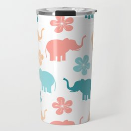 cute colorful pattern with elephants and flowers Travel Mug