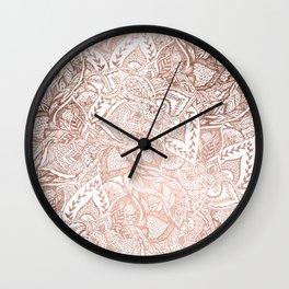 Chic hand drawn rose gold floral mandala pattern Wall Clock