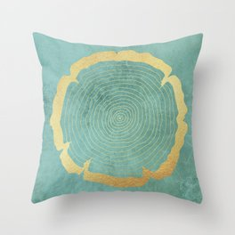 Gold Foil Tree Ring Throw Pillow